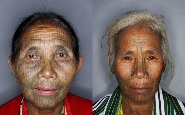 As mulheres de rosto tatuado de Myanmar 03