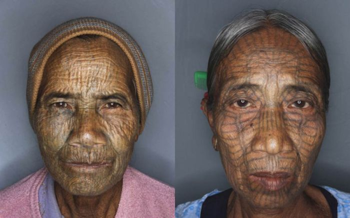 As mulheres de rosto tatuado de Myanmar 04