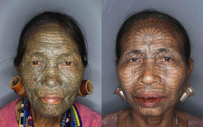 As mulheres de rosto tatuado de Myanmar 05