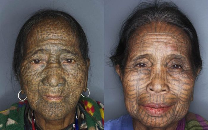 As mulheres de rosto tatuado de Myanmar 06