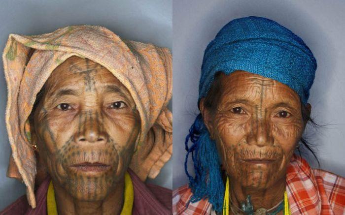 As mulheres de rosto tatuado de Myanmar 08