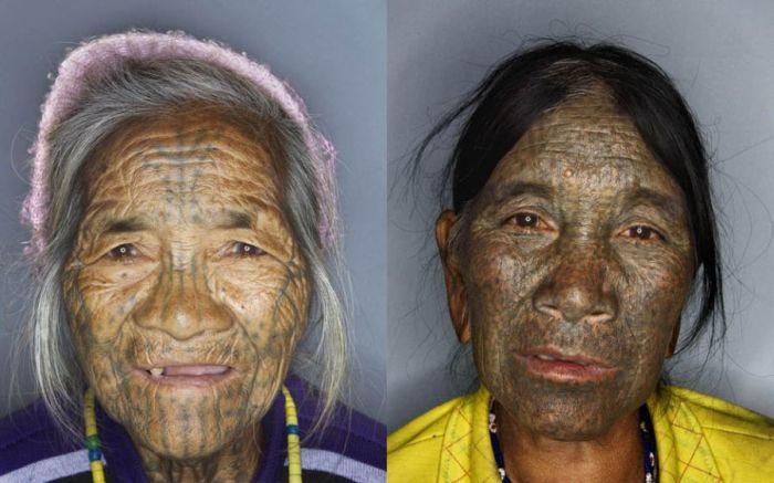 As mulheres de rosto tatuado de Myanmar 09