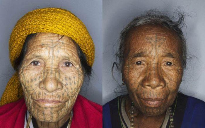 As mulheres de rosto tatuado de Myanmar 10