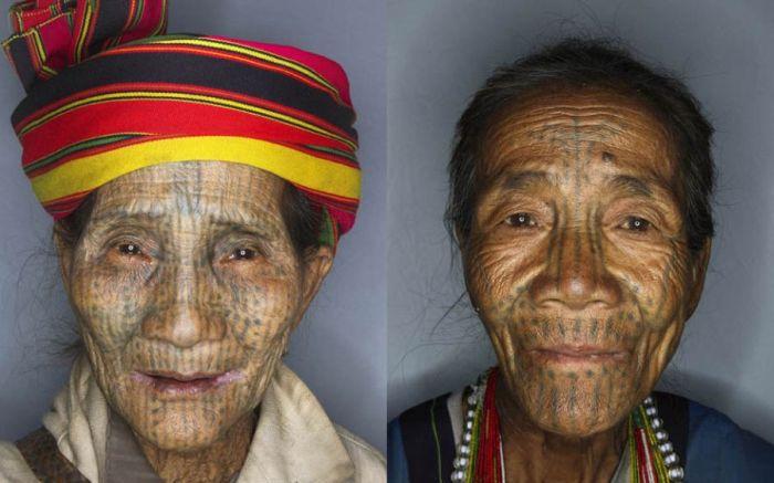 As mulheres de rosto tatuado de Myanmar 11