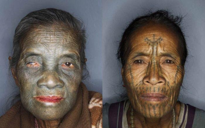 As mulheres de rosto tatuado de Myanmar 12