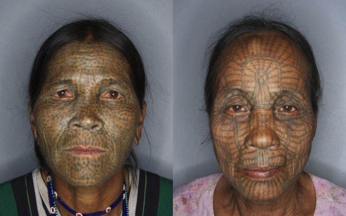 As mulheres de rosto tatuado de Myanmar 13