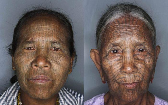 As mulheres de rosto tatuado de Myanmar 14
