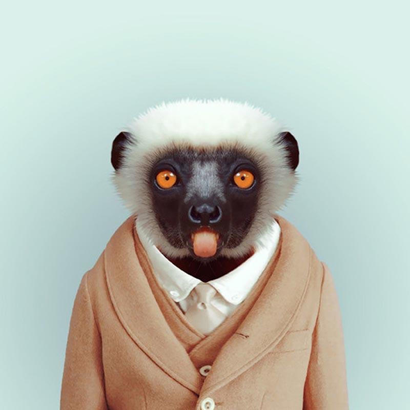 Engraçados retratos de animais vestidos como seres humanos 21