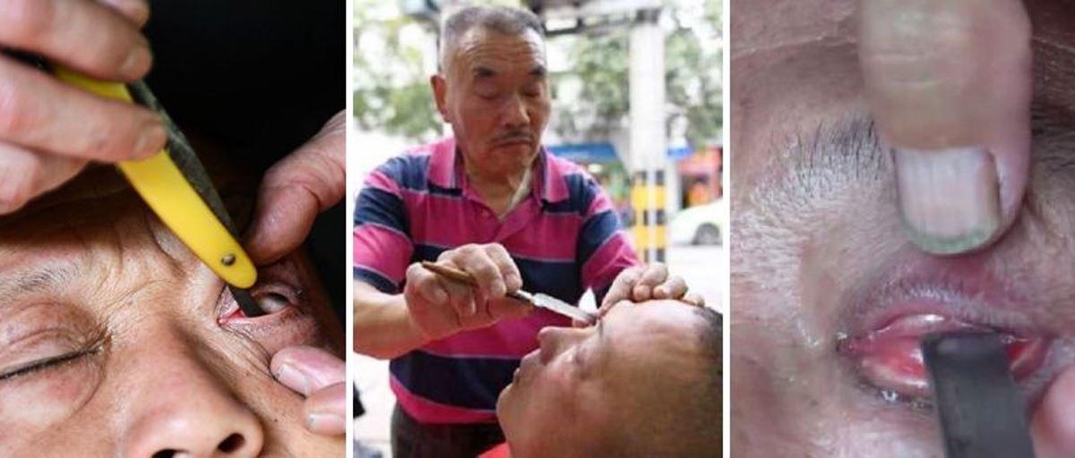 """Este barbeiro chinês aperfeiçoou a arte de """"barbear"""" os globos oculares"""