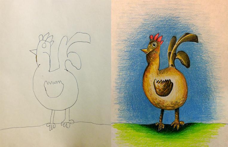 Pai criativo colore desenhos dos filhos 01