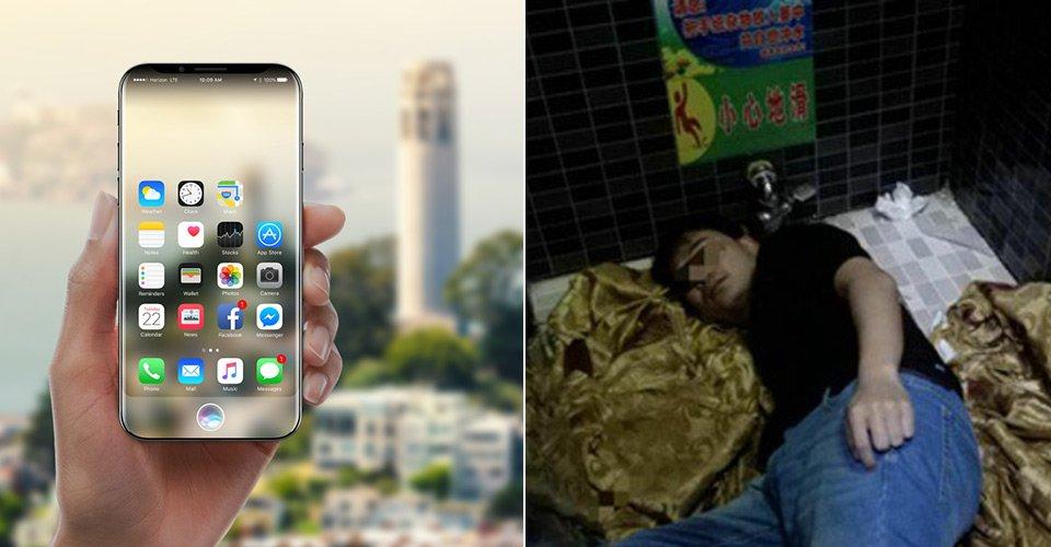 Chinês derrubou seu iPhone 8 no banheiro de uma lanchonete e ficou preso tentando recuperá-lo