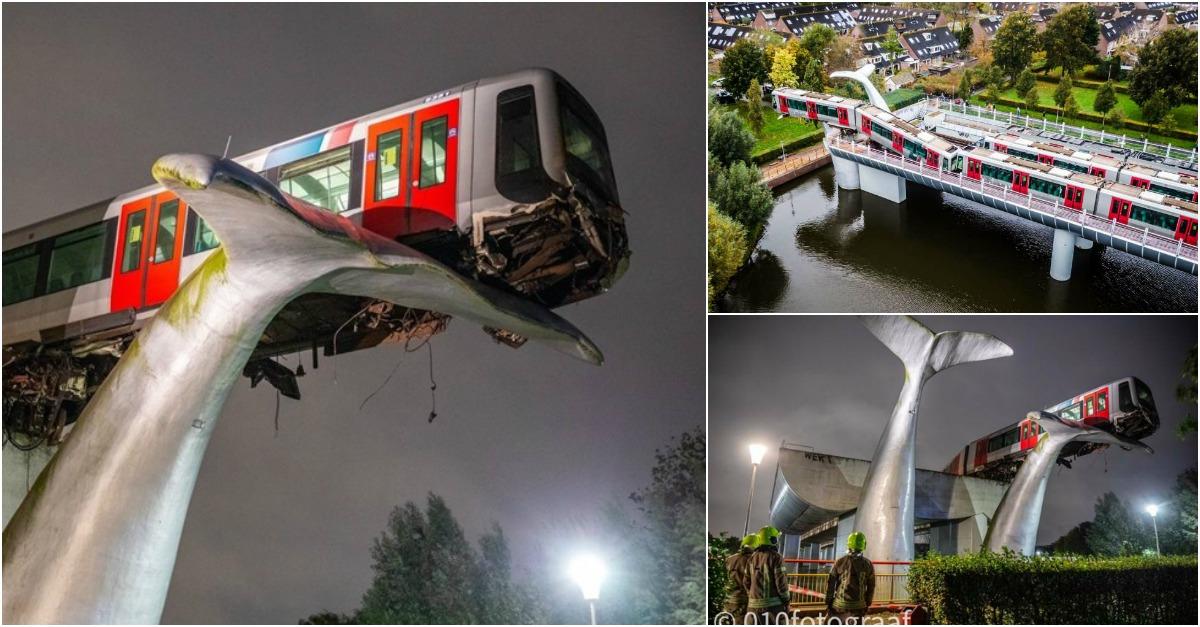 Trem descarrila e uma gigantesca obra de arte evita que caia de um elevado