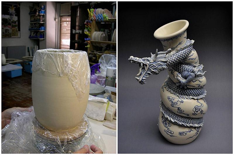 Como faz: vaso dragão chinês 01