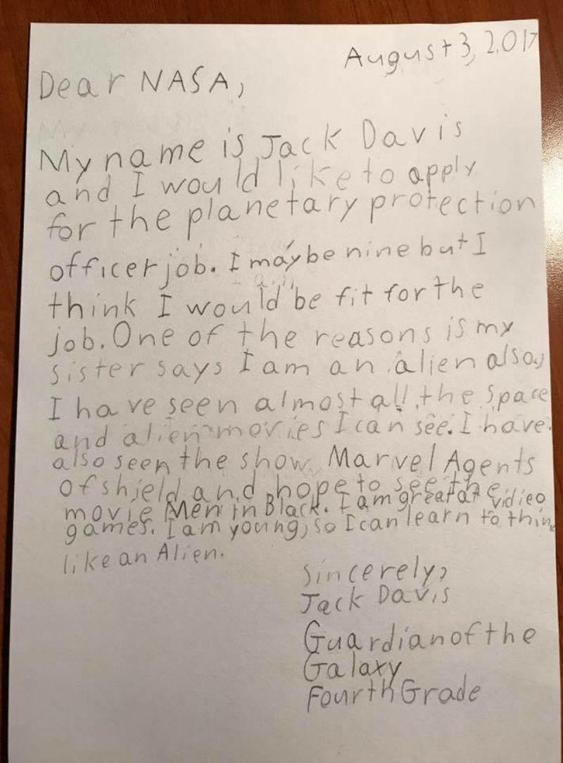 A genial resposta da NASA a um menino que escreveu à agência para trabalhar como guardião da galáxia