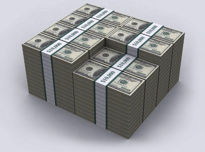A dívida dos EUA demonstrada com notas de 100 dólares