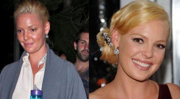 Celebridades, antes e depois da maquiagem