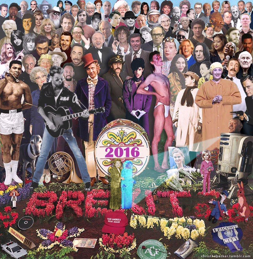 Entre o choque e a nostalgia: este cartaz reúne todas as figuras que morreram em 2016