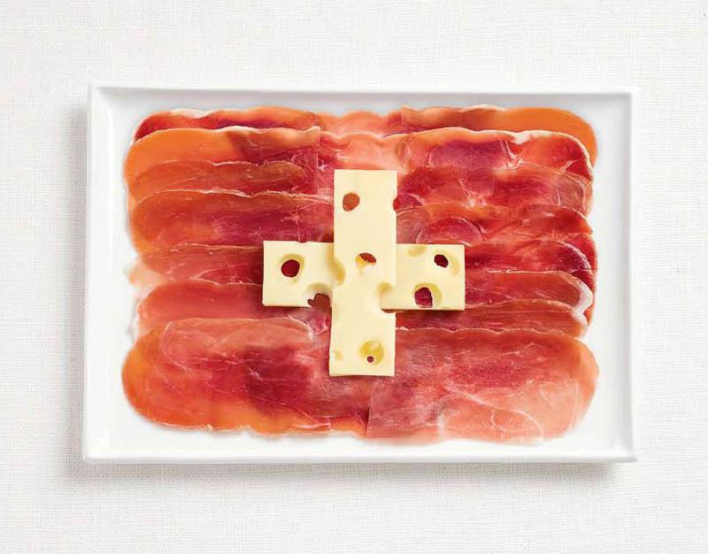 18 bandeiras nacionais feitas de alimentos