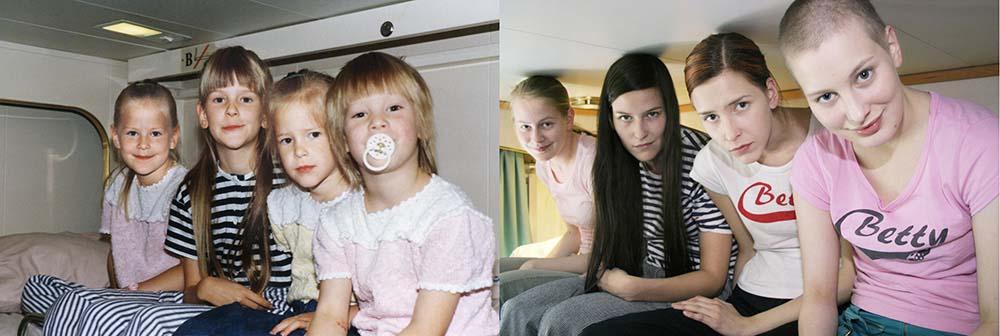 Quatro irmãs adoráveis recriam fotos de seu álbum de infância 06