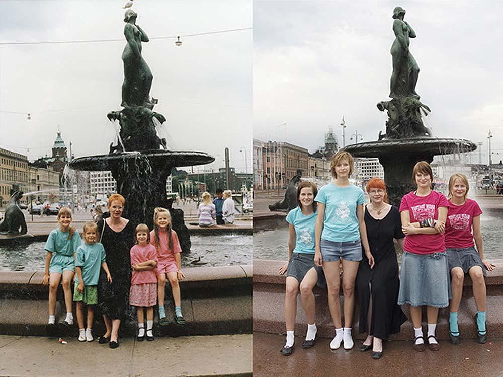 Quatro irmãs adoráveis recriam fotos de seu álbum de infância 08