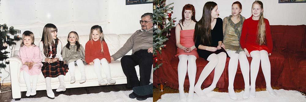 Quatro irmãs adoráveis recriam fotos de seu álbum de infância 09