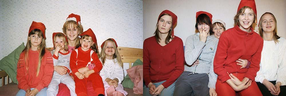 Quatro irmãs adoráveis recriam fotos de seu álbum de infância 11