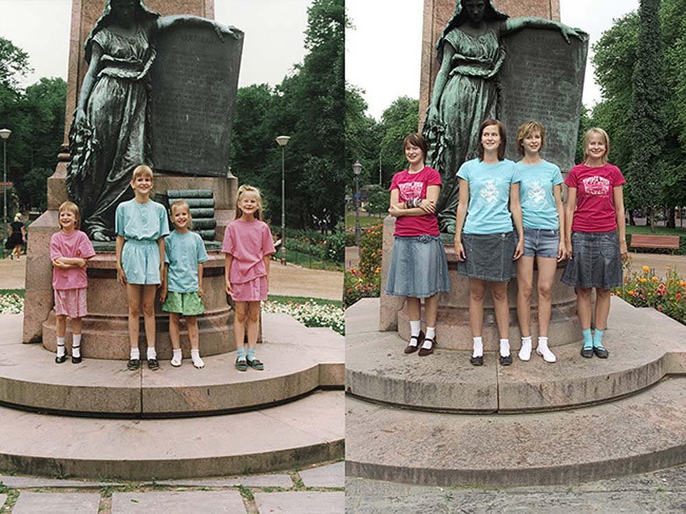Quatro irmãs adoráveis recriam fotos de seu álbum de infância 23