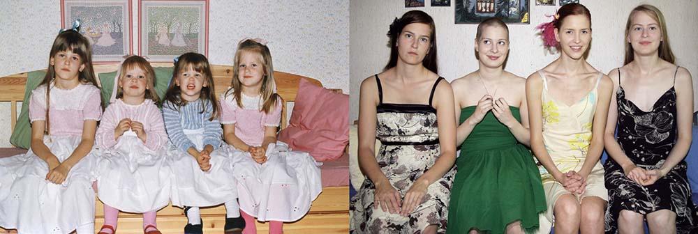 Quatro irmãs adoráveis recriam fotos de seu álbum de infância 25
