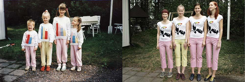 Quatro irmãs adoráveis recriam fotos de seu álbum de infância 26