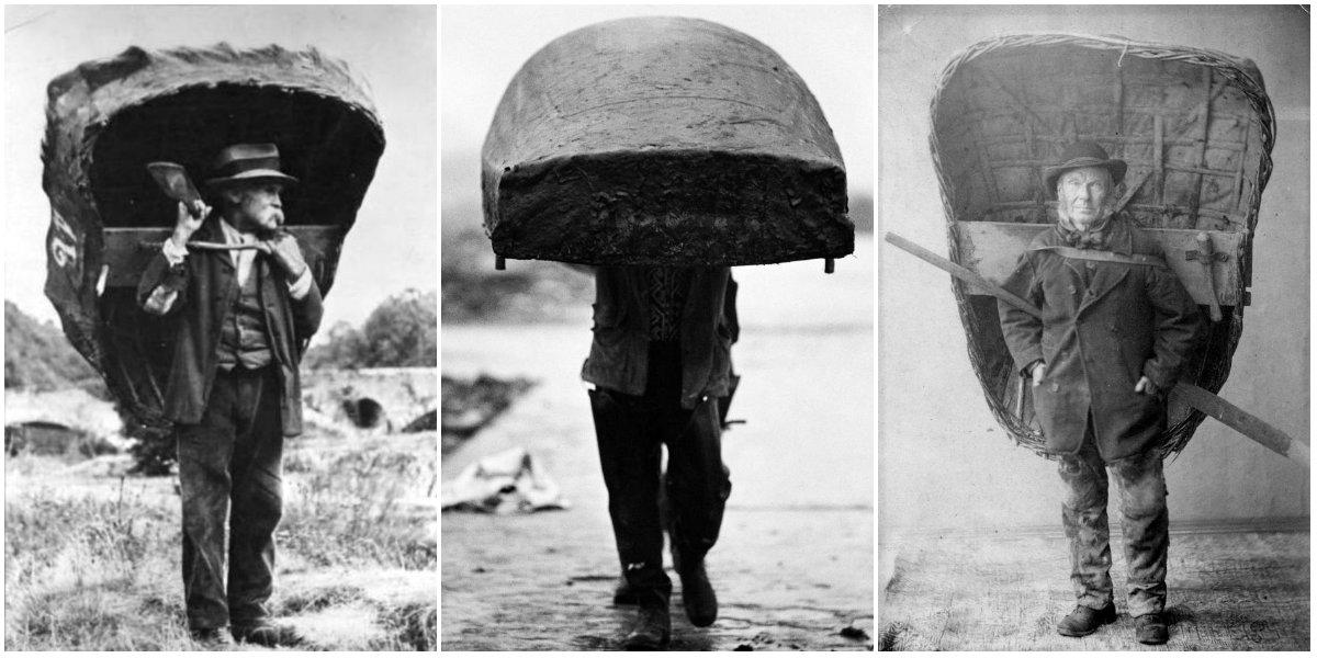 Fotografias do início do século XX mostram galeses com seus coracles às costas01