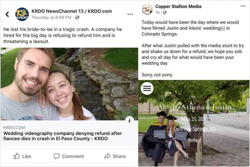 Uma produtora de vídeos de casamentos fez o que nunca deveria fazer se um dos clientes morre