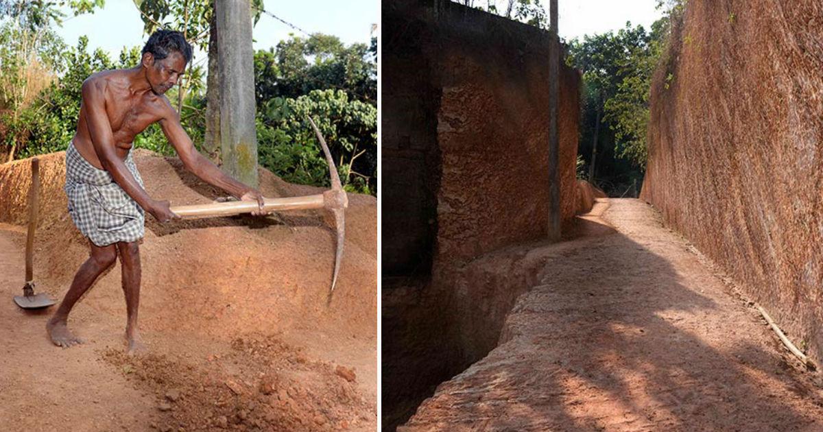 Homem semi-paralítico passou três anos esculpindo uma estrada através de uma colina