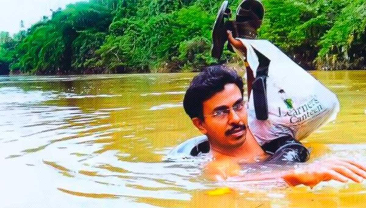 Um professor cruza um rio a nado todas as manhãs para chegar a tempo a sua escola