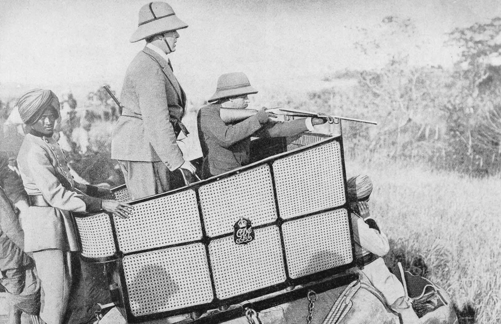 Em 1911 a realeza britânica foi à Índia para ser coroada e aproveitou para caçar 12