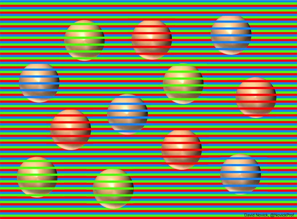 Não importa quantas vezes você veja, todas as bolinhas são da mesma cor