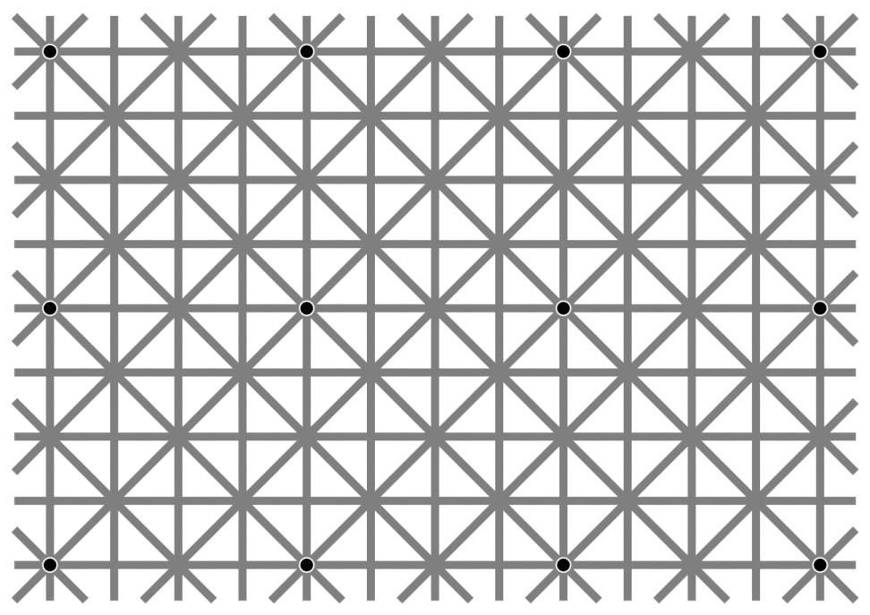 Você consegue ver todos os 12 pontos negros ao mesmo tempo desta ilusão?