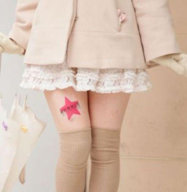 Jovens japonesas alugam suas pernas nuas como espaço publicitário 10