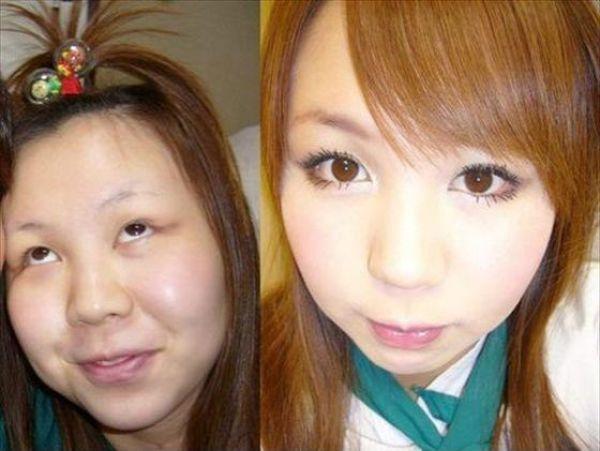 Mais antes e depois da maquiagem de garotas asiáticas 01