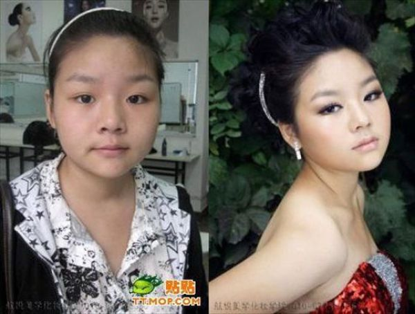 Mais antes e depois da maquiagem de garotas asiáticas 06