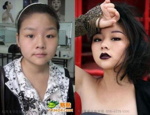 Mais antes e depois da maquiagem de garotas asiáticas 07