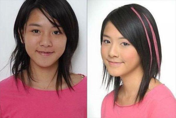 Mais antes e depois da maquiagem de garotas asiáticas 09