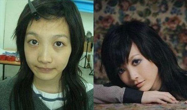 Mais antes e depois da maquiagem de garotas asiáticas 12
