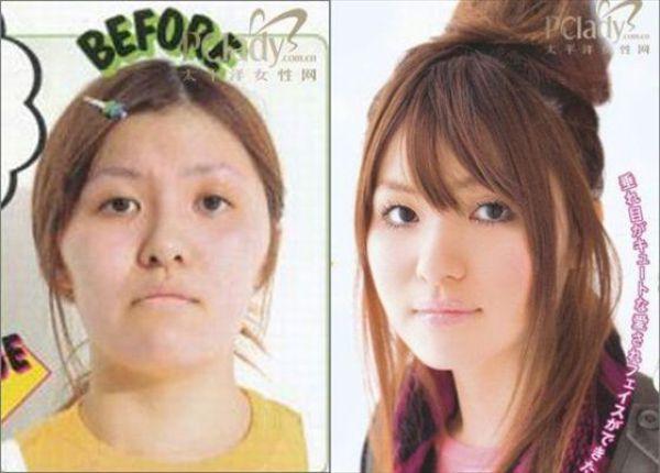 Mais antes e depois da maquiagem de garotas asiáticas 17