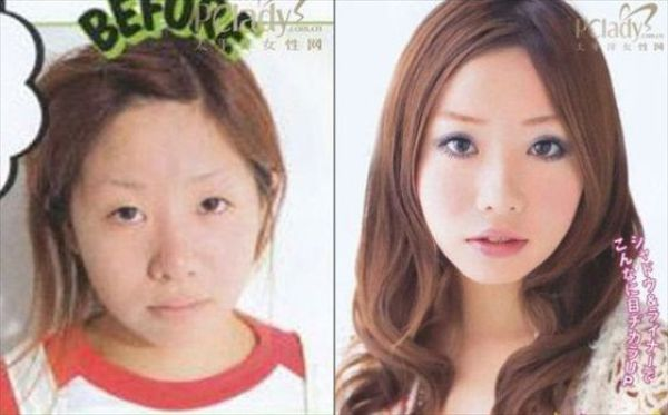 Mais antes e depois da maquiagem de garotas asiáticas 18