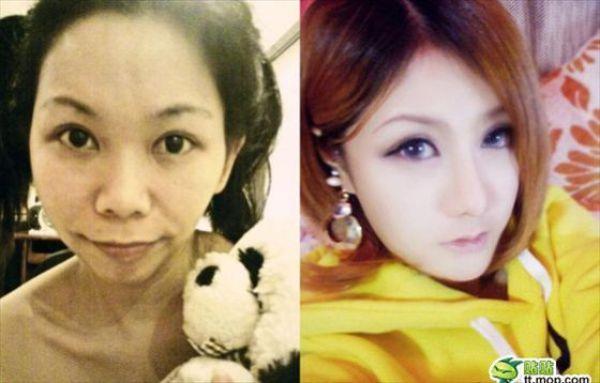 Mais antes e depois da maquiagem de garotas asiáticas 22