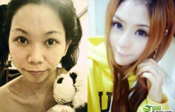 Mais antes e depois da maquiagem de garotas asiáticas 23