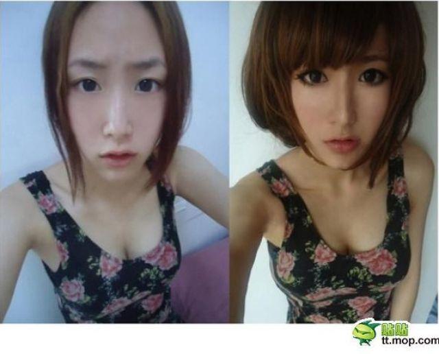 Mais antes e depois da maquiagem de garotas asiáticas 30
