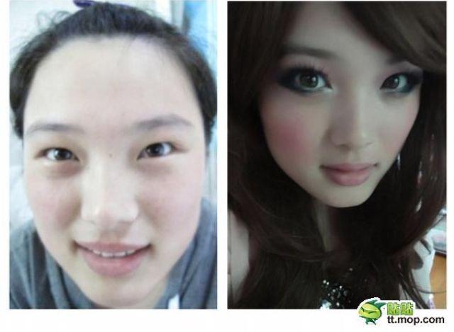Mais antes e depois da maquiagem de garotas asiáticas 32