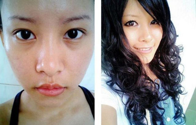 Mais antes e depois da maquiagem de garotas asiáticas 38