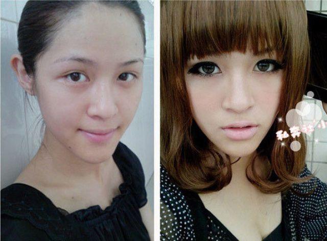 Mais antes e depois da maquiagem de garotas asiáticas 42